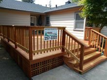Redwood deck installed by Alipine Construction